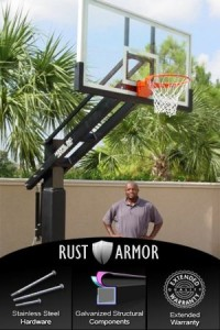 basketball hoops in ground
